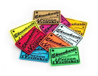 Wertchip 60 x 40 mm mit Standardtexten Fahrchips | Ehrenkarte Gültig für 1 Eintritt- nicht zurückzahlbar