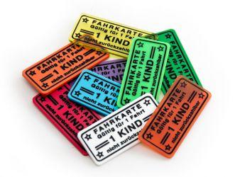 Wertchip 57 x 26 mm mit Standardtexten Fahrchips | Fahrkarte 1 Fahrt - 1 KIND - nicht zurückzahlbar