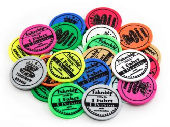 Ride token Ø 38 mm with standard text