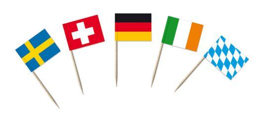 Party-/Portionsfähnchen mit Länderfahnen