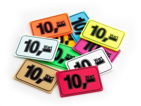 Wertchip 60 x 40 mm mit Standardtexten Werte   Wert 10,-